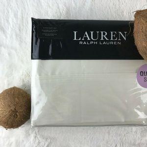 LRL Cream DUNHAM Cotton Sateen QUEEN Sheet Set